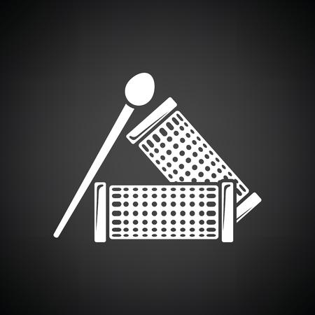 rulos: icono de rizadores de pelo. Fondo negro con blanco. Ilustración del vector.