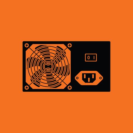 power supply unit: Power unit icon. Orange background with black. Vector illustration. Illustration