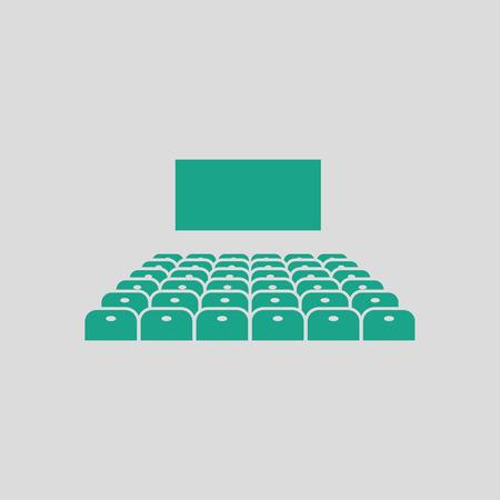 auditorium: Cinema auditorium icon. Gray background with green. Vector illustration.