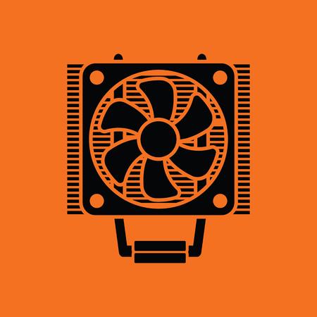 heat sink: CPU Fan icon. Orange background with black. Vector illustration. Illustration