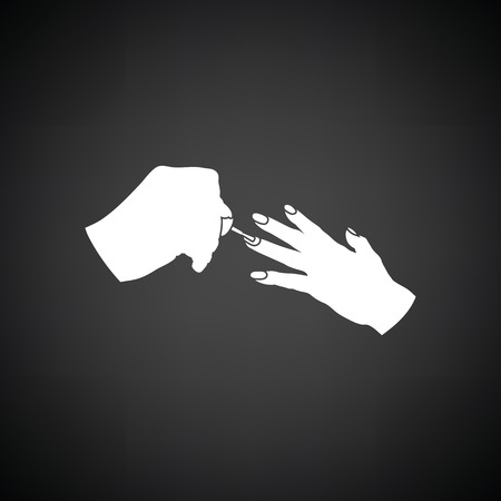manicurist: Manicure icon. Black background with white. Vector illustration.