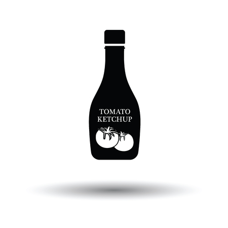 ketchup: Tomato ketchup icon. White background with shadow design. Vector illustration.