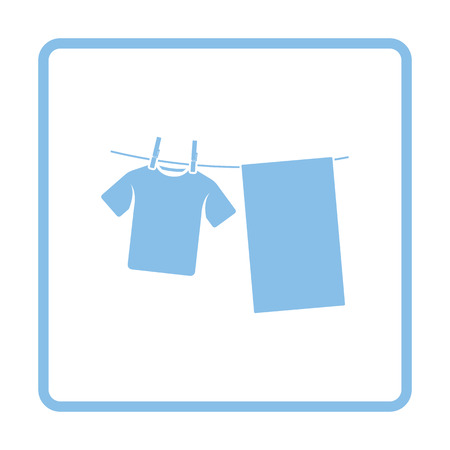 dry cloth: Drying linen icon. Blue frame design. Vector illustration.