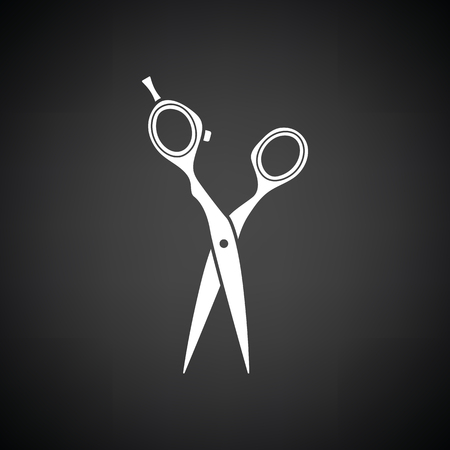 Hair scissors icon. Black background with white. Vector illustration.