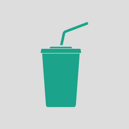 sip: Cinema soda drink icon. Gray background with green. Vector illustration.