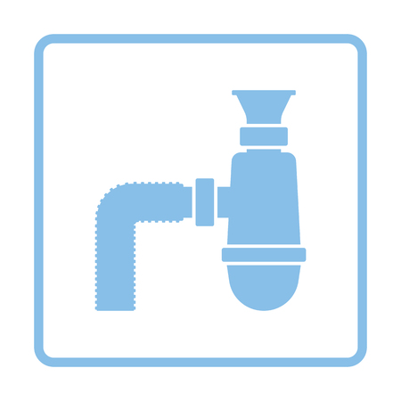 siphon: Bathroom siphon icon. Blue frame design. Vector illustration. Illustration