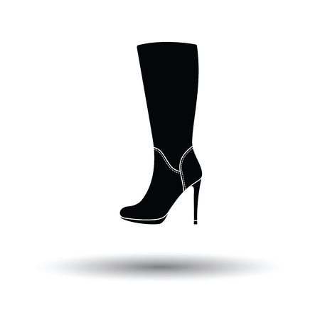 heel: Autumn woman high heel boot icon. White background with shadow design. Vector illustration. Illustration
