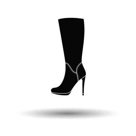 calcanhares: Mulher do outono ícone de inicialização do salto alto. fundo branco com projeto da sombra. Ilustração do vetor.