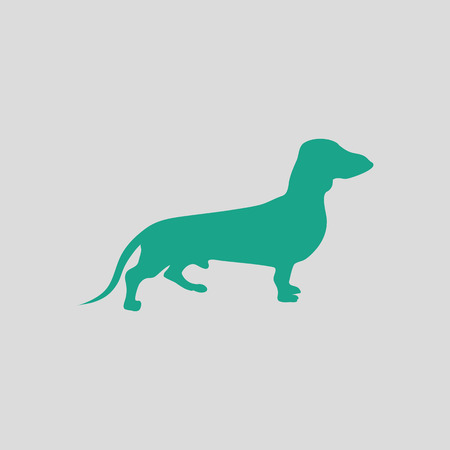 Dachshund dog icon. Gray background with green. Vector illustration.