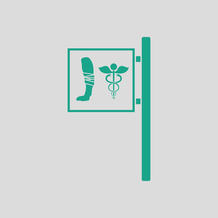 pet breeding: Vet clinic icon. Gray background with green. Vector illustration.