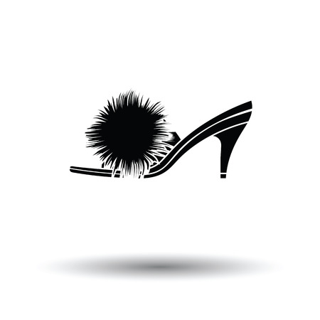 Woman pom-pom shoe icon. White background with shadow design. Vector illustration. Illustration