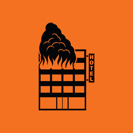 Hotel building in fire icon. Orange background with black. Vector illustration. Illustration