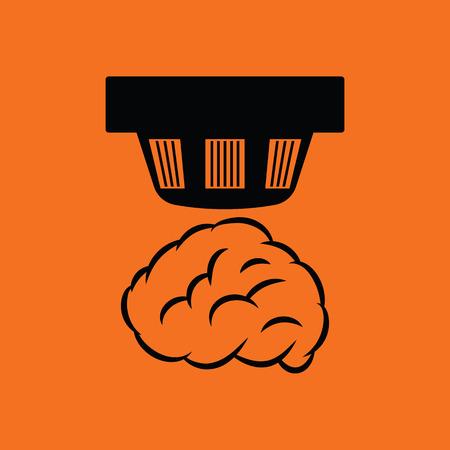 alarm system: Smoke sensor icon. Orange background with black. Vector illustration.