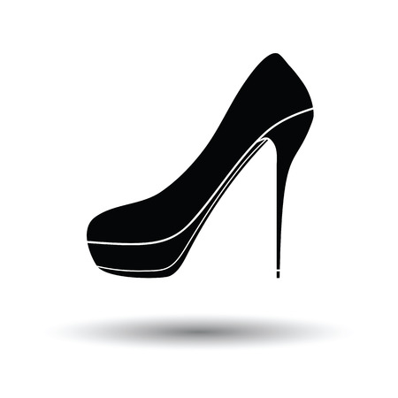 high heel shoe: High heel shoe icon. White background with shadow design. Vector illustration.