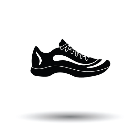 running shoe: Sneaker icon. White background with shadow design. Vector illustration. Illustration