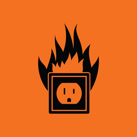 hazard: Electric outlet fire icon. Orange background with black. Vector illustration.