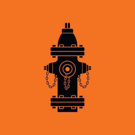 Fire hydrant icon. Orange background with black. Vector illustration.