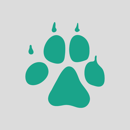 pet breeding: Dog trail icon. Gray background with green. Vector illustration. Illustration