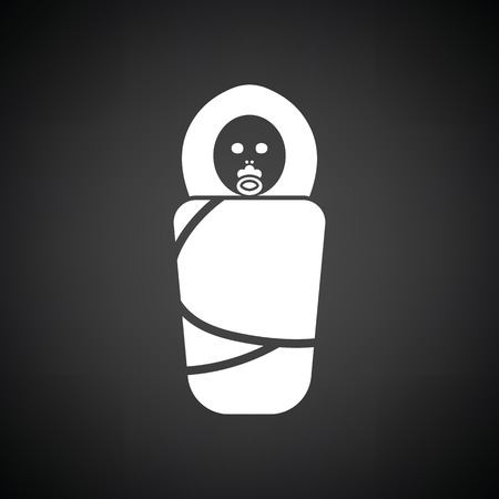 infant: Wrapped infant icon. Black background with white. Vector illustration.