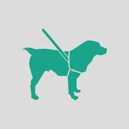 Guide dog icon. Gray background with green. Vector illustration.