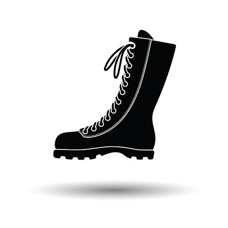 Hiking boot icon. White background with shadow design. Vector illustration.