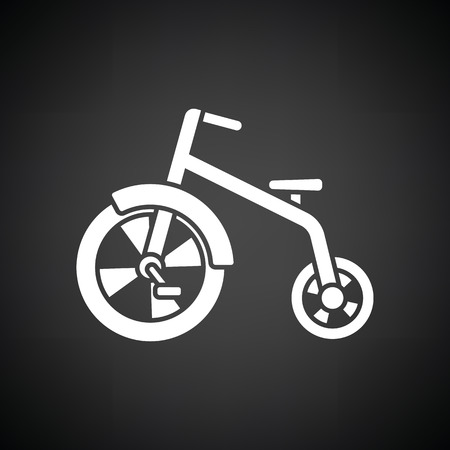 antique tricycle: kids bicycle icon. Black background with white. Vector illustration. Illustration