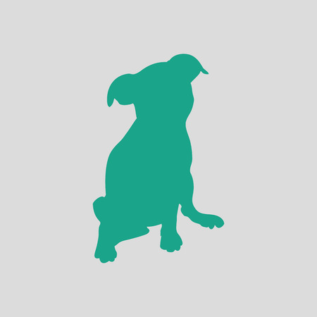 whelp: Puppy icon. Gray background with green. Vector illustration.