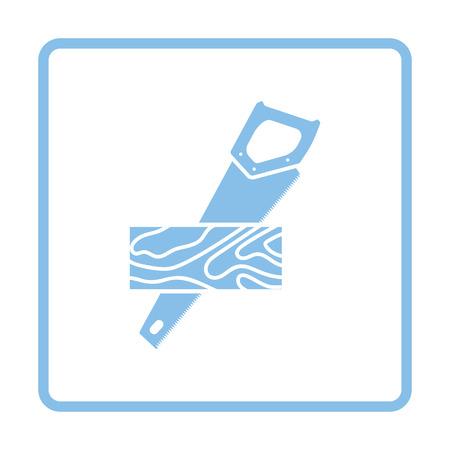 serrucho: Serrucho cortando un icono del tablón. Diseño del marco azul. Ilustración del vector.