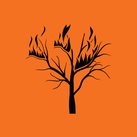 wildfire: Wildfire icon. Orange background with black. Vector illustration.