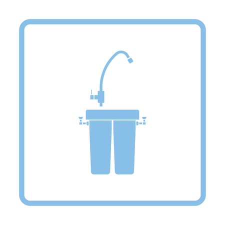 water filter: Water filter icon. Blue frame design. Vector illustration.