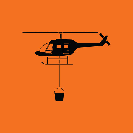 Fire service helicopter icon. Orange background with black. Vector illustration.