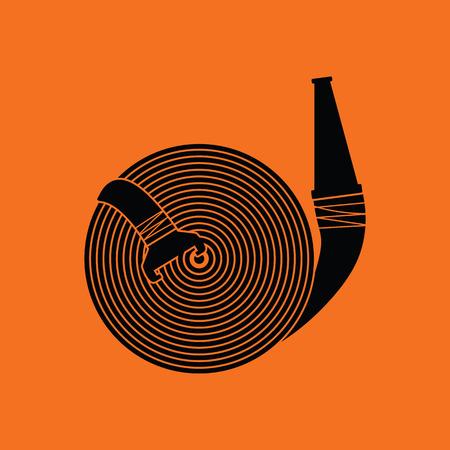 Fire hose icon. Orange background with black. Vector illustration. Illustration