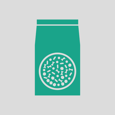 pet breeding: Packet of dog food icon. Gray background with green. Vector illustration.