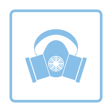 protection icon: Dust protection mask icon. Blue frame design. Vector illustration.