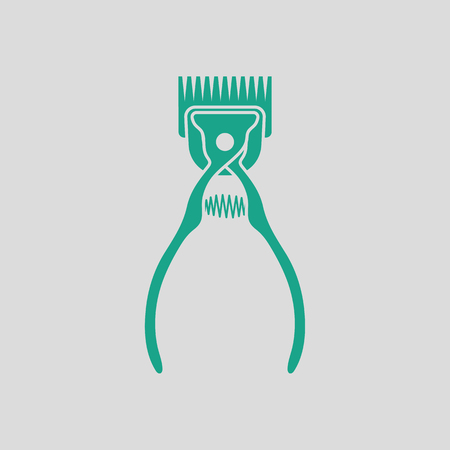 groomer: Pet cutting machine icon. Gray background with green. Vector illustration. Illustration