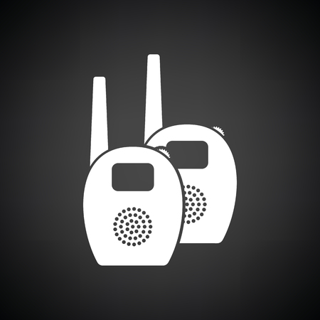 ico: Baby radio monitor ico. Black background with white. Vector illustration.