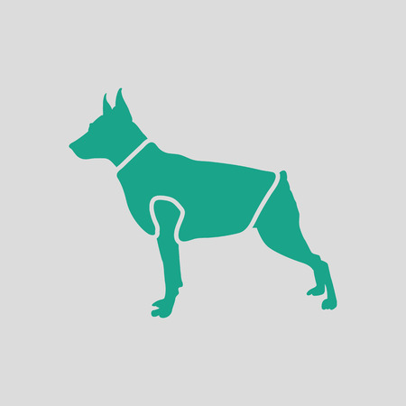 clothed: Dog cloth icon. Gray background with green. Vector illustration.