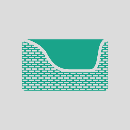 pet breeding: Dogs sleep basket icon. Gray background with green. Vector illustration.