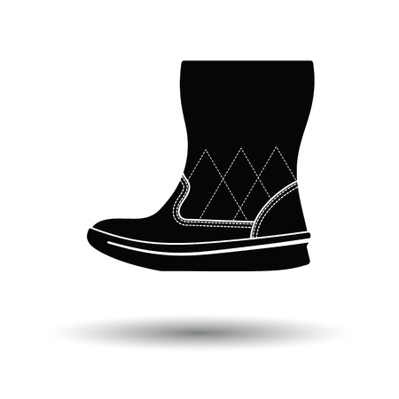 Woman fluffy boot icon. White background with shadow design. Vector illustration.