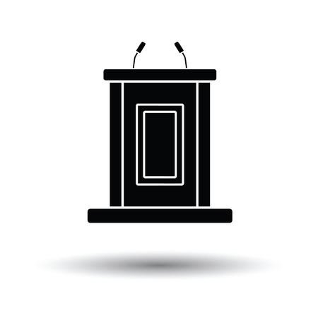 public opinion: Witness stand icon. White background with shadow design. Vector illustration.