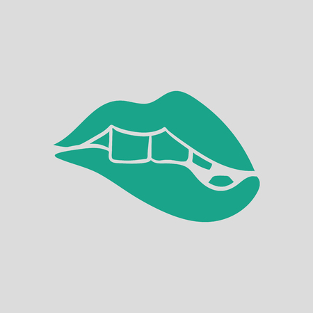 Sexy lips icon. Gray background with green. Vector illustration.