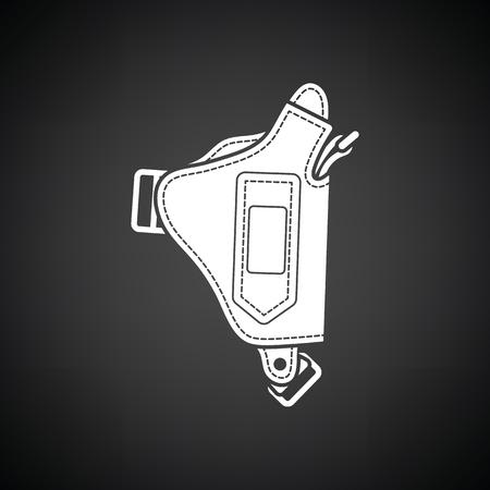 holster: Police holster gun icon. Black background with white. Vector illustration.