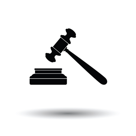 arbitrate: Judge hammer icon. White background with shadow design. Vector illustration.