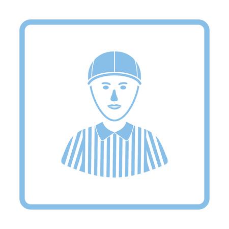 football referee: American football referee icon. Blue frame design. Vector illustration.