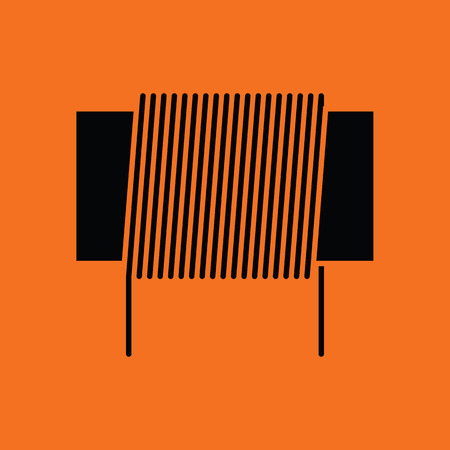 single coil: Inductor coil icon. Orange background with black. Vector illustration.
