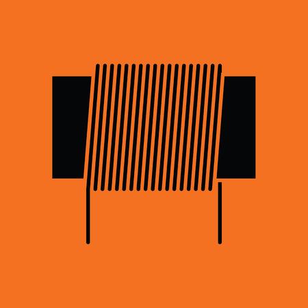solder: Inductor coil icon. Orange background with black. Vector illustration.