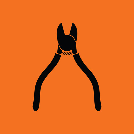 Side cutters icon. Orange background with black. Vector illustration.