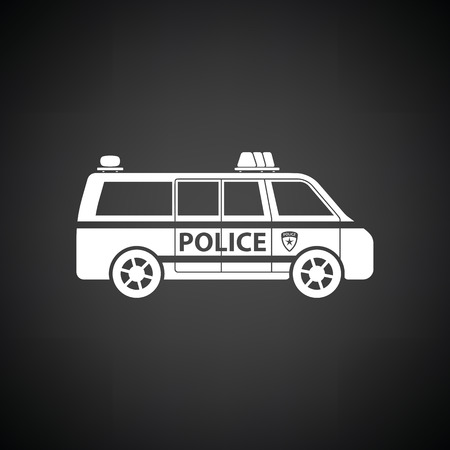 highway patrol: Police van icon. Black background with white. Vector illustration.