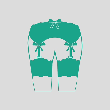clothing shop: Sexy stockings icon. Gray background with green. Vector illustration.