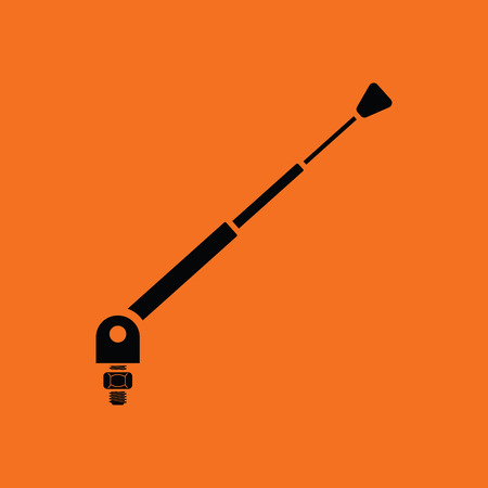 Radio antenna component icon. Orange background with black. Vector illustration.